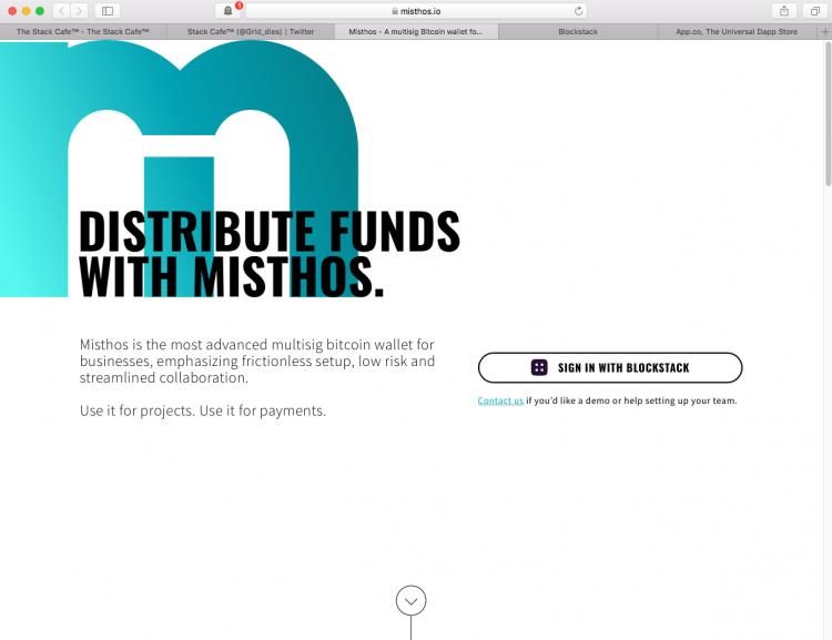 Blockstack: Misthos - a new dApp multisig bitcoin wallet for