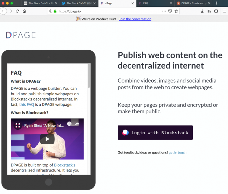 dPage: the webpage builder dApp built for use on Blockstack
